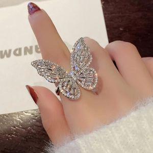 NEW HUGE 18K WHITE GOLD DIAMOND BUTTERFLY RING